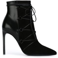 Saint Laurent 'Classic Paris' ankle boots featuring polyvore, women's fashion, shoes, boots, ankle booties, ankle boots, black, heels, high heel stilettos, black pointed toe booties, black stiletto booties, black booties and black heeled boots