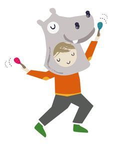 Hippo Boy Maracas Illustration