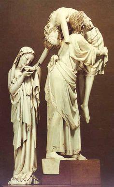 Le groupe de la Descente de Croix et les deux statuettes de l'Eglise et de Nicodème proviennent d'un même ensemble que devaient compléter les figures de saint Jean et de la Synagogue. Ces statuettes étaient à l'origine disposées dans un décor d'architecture, à plusieurs niveaux. Paris vers 1260 - 1280 Groupe : Descente de Croix Ivoire, traces de dorure et de polychromie Acquisition 1896 Département des Objets d'art OA 3935
