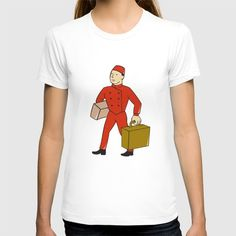 Bellboy Bellhop Carry Luggage Cartoon T-shirt Illustration of a bellboy, bellhop or porter carrying suitcase, bag and luggage set on isolated white background done in cartoon style. #illustration #BellboyBellhop