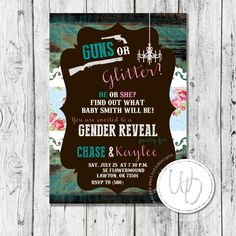 Guns or Glitter Rustic Gender Reveal Invitation by Wentroth Designs. Visit our Etsy shop for more! www.etsy.com/shop/wentrothdesigns