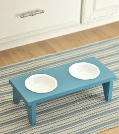 This cute, simple food bowl stand. | 19 Brilliant DIY Projects For Pet Food Stations