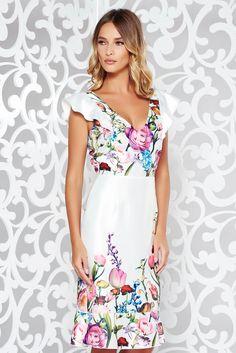 Comanda online, Rochie StarShinerS alba eleganta din material satinat cu decolteu in v si volanase la baza rochiei. Articole masurate, calitate garantata!
