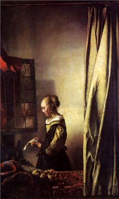Page: Girl Reading a Letter at an Open Window  Artist: Johannes Vermeer  Completion Date: 1657  Genre: genre painting  Technique: oil  Material: canvas  Dimensions: 64.5 x 83 cm  Gallery: Gemäldegalerie, Dresden, Germany