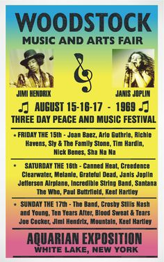 Woodstock poster, August 1969  #music
