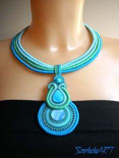 W kolorach oceanu - naszyjnik sutasz w Szeptucha ART Pracownia Ceramiki i Rękodzieła na DaWanda.com