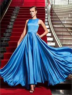 A-line Jewel Floor-length Satin And Chiffon Evening Dress inspired by Bianca Lawson at the Emmys - USD $ 129.99