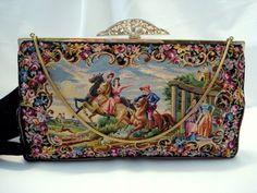 Vintage 1940 English micro petit point purse horses