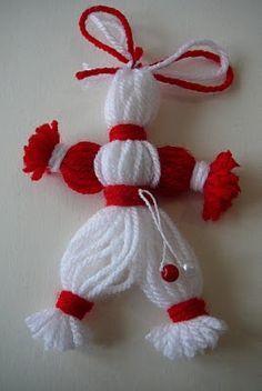 """На 23-ти февруари, от 10 до 12.30 часа, заповядайте в Детски отдел на Народна Библиотека """"Иван Вазов"""" в Пловдив, където ще се рисуват картички за Първи март. С творческата работилница за мартенички... Doll Crafts, Yarn Crafts, Diy And Crafts, Crafts For Kids, Crochet Bebe, Crochet Yarn, Crochet Toys, Christmas Tree Crafts, Outdoor Christmas Decorations"""