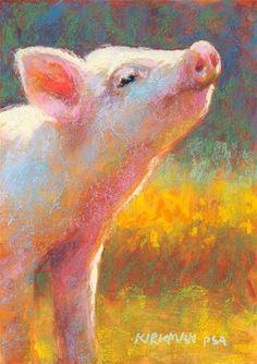 "Daily Paintworks - ""Little Piggy Pink"" - Original Fine Art for Sale - © Rita Kirkman"