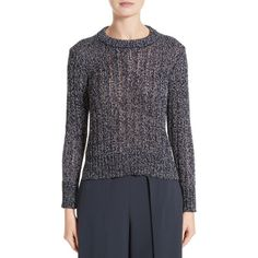 Women's Rag & Bone Adira Marled Sweater (6,520 PHP) ❤ liked on Polyvore featuring tops, sweaters, navy, navy crew neck sweater, rag bone sweater, striped sweater, striped tops and navy blue sweater