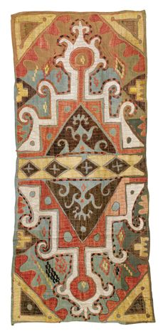 TWO KAITAG SILK EMBROIDERIES, DAGHESTAN, EAST CAUCASUS