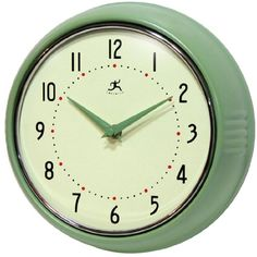 Infinity Instruments Retro 9-1/2-Inch Round Metal Wall Clock, Green. Shopswell | Shopping smarter together.™