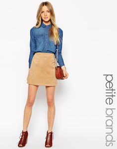 Image 1 of New Look Petite Suedette Mini Skirt