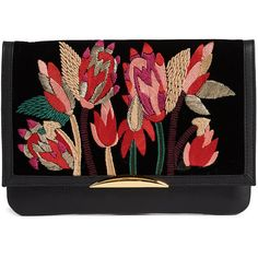 Lizzie Fortunato Port of Call Clutch (£375) ❤ liked on Polyvore featuring bags, handbags, clutches, spiky floral, flap handbags, lizzie fortunato, chain handle handbags, floral print handbags and embroidery handbags