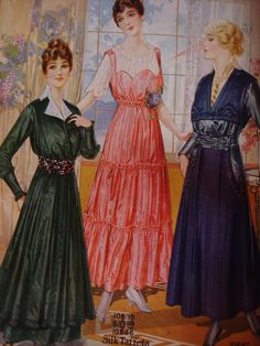 """I was recently gifted with a 1915 """"National"""" fashion catalog.  500 pages of beautiful frocks, make-up, corsets, etc., and some of the illustrations were even in full-color!  This catalog had originally been headed for the landfill, but a kindly soul saved it and passed it along to me...now, I am sharing some of my favorite images out of it with you!"""