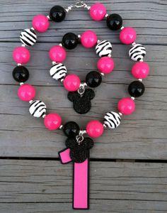 Hot Pink Zebra Minnie Mouse Birthday Age Chunky Bubblegum Necklace/Bracelet Set Chunky Bead Necklaces, Chunky Beads, Beaded Jewelry, Beaded Necklace, Beaded Bracelets, Unique Jewelry, Girly Stuff, Girly Things, Little Diva