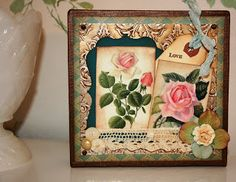 Shabby Beautiful Scrapbooking: Altered canvas with Faux tin ceiling tile made with the new Teresa Collins embossing folder