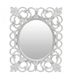 WOODEN WALL MIRROR IN ANTIQUE WHITE COLOR 22X1X27