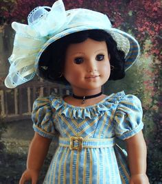 ~BLUE BIRDS~ Is A Regency Era Costume In the European Romantic Tradition Inspired by Ackermanns Costume Plates Womens Fashions In England, My American Girl Doll, American Doll Clothes, Ag Doll Clothes, Doll Clothes Patterns, Doll Patterns, Clothing Patterns, Ag Dolls, Girl Dolls, Journey Girls