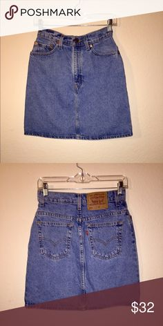 Vintage Levis Denim Skirt Versatile high waisted vintage Levis denim skirt. These are selling at Urban Outfitters for quite a bit but the quality probably doesn't come near this type of quality. The waist measures about 26/27 inches, the hips are about 36/37 inches and the length is about 18/19 inches. This skirt can work for a number of different outfits. Listed as Urban Outfitters for visibility. No notable flaws. Urban Outfitters Skirts