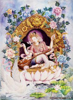 Happy Basant Panchami 2020 Wishes, Images, Status, Shayari,quotes Saraswati Goddess, Goddess Art, Indian Gods, Indian Art, Arte Krishna, Art Buddha, Thangka Painting, Tibetan Art, Hindu Deities