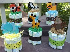 diaper centerpieces for baby shower | Jungle Safari Theme Mini Diaper Cakes Baby Shower Centerpiece