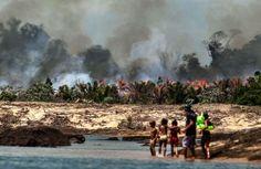 Uma das ilhas do Xingu, desmatada e queimada para o enchimento do lago de Belo Monte (FOTOS DE LILO CLARETO)