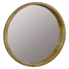 "Round Mirror Wood Barrel Frame 24"" - Threshold™ : Target"