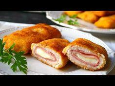 Pechugas rellenas de jamón y queso (cordon bleu) - YouTube Pollo Chicken, Fried Chicken, Snack Recipes, Cooking Recipes, Snacks, Le Cordon Bleu, Puerto Rican Recipes, Health Dinner, Dinner Sides