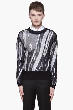 PAUL SMITH Black Slash Knit sweater