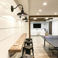 Many homeowners fail to notice the versatility of a basement. Since it is usually dark and dank, they use the basement as a storage room or laundry room. In fact, there are many cool basement ideas… Cool Basement Ideas, Basement Games, Basement Inspiration, Basement Laundry, Basement House, Basement Office, Playroom Ideas, Basement Bathroom, Gray Basement