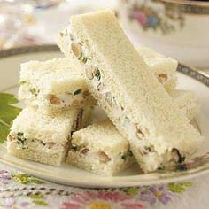 Walnut-Cream Cheese Finger Sandwiches! Also try, Peppernut Sandwiches - 1 8oz philadelphia cream cheese  1/4 cup sour cream  1/2 cup pecans  1/2 cup bell pepper  1/2 cup chopped onion  1/2 cup mayonaise THEY ARE A WONDERFUL PARTY AND TEA SANDWICH!