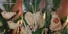 Новогодние игрушки из подручных материалов мастер класс рогожка, мешковина Rustic Christmas ornaments DIY tutorial