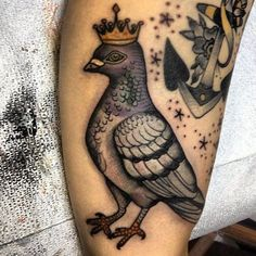 Crown On Pigeon Head Tattoo Design For Leg