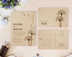 Dandelion wedding invitation with RSVP postcards printed on kraft card stock   Rustic themed wedding invitations