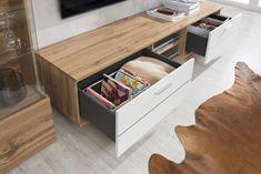 Obývačka ALFONSO vo vyhotovení dub wotan/biela supermat Corner Desk, Bench, Storage, Furniture, Home Decor, Corner Table, Purse Storage, Decoration Home, Room Decor