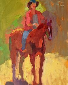 Larisa Aukon. The Girl and her Horse by Larisa Aukon Oil ~ 12 x 9