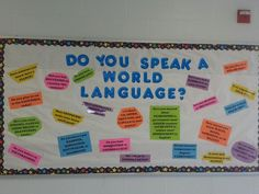Bulletin board for the WL hallway highlighting loanwords from the languages we teach. (French, German, Spanish)