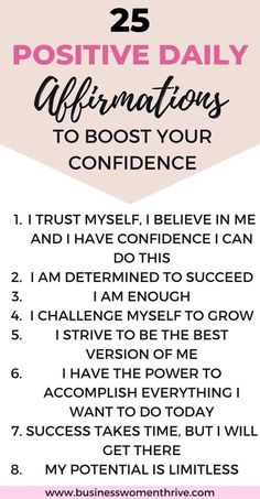 25 Daily Positive Affirmations to Boost your Confidence - Businesswomenthrive