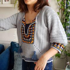 Crochet Dress Full Pattern and Tutorial - Craft & Patterns Gilet Crochet, Crochet Collar, Crochet Cardigan, Crochet Granny, Crochet Stitches, Knit Crochet, Crochet Hippie, Knitting Patterns, Crochet Patterns