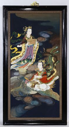 Lot 752: Unknown Artist (Asian, 20th Century) Oil on Board; Undated, unsigned, depicting two Asian female figures with a bird; raised gold motif