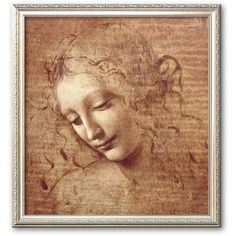 """Art.com """"Female Head (La Scapigliata) ($160) ❤ liked on Polyvore featuring home, home decor, wall art, backgrounds, multicolor, framed wall art, wood home decor, colorful home decor, wooden home decor and vertical wall art"""
