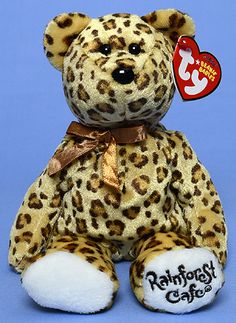 Leopold, Rainforest Cafe exclusive Ty Beanie Baby leopard reference information and photograph. Expensive Beanie Babies, Rare Beanie Babies, Beanie Baby Bears, Original Beanie Babies, Ty Beanie Boos, Ty Stuffed Animals, Plush Animals, Ty Babies, Little Babies