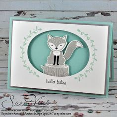 Miss Pinks Craft Spot featuring Stampin' Up! products by Sue Vine, Adelaide South Australia Stampin Up Foxy Friends Cards, Foxy Friends Punch, Cards For Friends, Baby Shower Cards, Baby Cards, Kids Cards, Pink Crafts, Paper Crafts, Stampin Up Karten