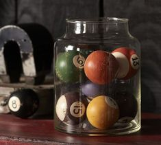Vintage Pool Ball- this was my idea way before PB! Found my pool balls at a flea market and less then PB Man Cave Diy, Man Cave Home Bar, Man Cave Basement, Man Cave Garage, Best Man Caves, Ultimate Man Cave, Diy Home, Home Decor, Rustic Crafts