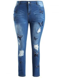 Plus Size Butterfly Bestickte Ripped Jeans - Christmas Deesserts Casual Jeans, Jeans Style, Ripped Jeans, Skinny Jeans, Women's Jeans, Crochet Hair Styles, Garden Styles, Cheap Fashion, Plus Size Fashion