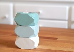 Geometric Wood Candle holders Easter Decoration by ShadeonShape, $25.00