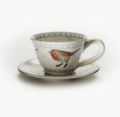 Robin Breakfast Cup & Saucer by Irish Company Eden Pottery.  Repinned by www.mygrowingtraditions.com