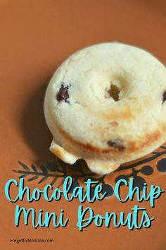 Chocolate Chip Mini Donuts Recipe - #minidonuts #recipe #snackrecipe Mini Donut Maker Recipes, Baked Donut Recipes, Baking Recipes, Snack Recipes, Dessert Recipes, Delicious Chocolate, Delicious Desserts, Mini Donuts, Semi Sweet Chocolate Chips